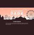 silhouette amusement park scenery flat vector image