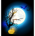 Silhouette of tree and pumpkin vector image