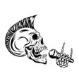 skull punk singing and holding microphone vector image vector image