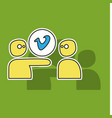 Sticker vimeo icon on background vectorimage