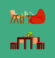table and fresh drink sushi on board icons vector image