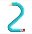 The number in the form of a bent pencil Two vector image