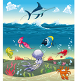 Under the sea with fish and other animals vector image vector image