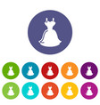 wedding dress icons set color vector image