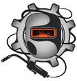 welder mask and welding machine symbol vector image vector image