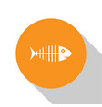 white fish skeleton icon isolated on white vector image vector image