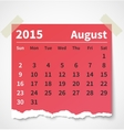 Calendar august 2015 colorful torn paper vector image