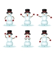 Christmas Snowman Smile Emoticon Icons Set vector image