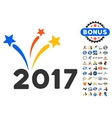 2017 Fireworks Icon With 2017 Year Bonus vector image