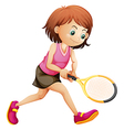 A cute little girl playing tennis vector image vector image