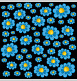 a pattern of blue daisies vector image vector image