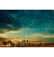 abstract clouds background with panorama of city vector image vector image