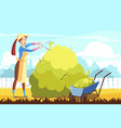 agriculture gardening trimming volunteering vector image vector image