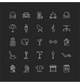 apartment amenities chalk white icons set vector image