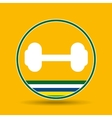 barbell weight sport badge icon vector image