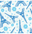 blue eifel tower paris and flowers seamless vector image vector image