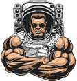 bodybuilder in an astronaut suit vector image vector image