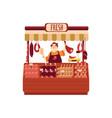butcher seller at shop or street marketplace flat vector image vector image