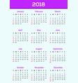 calendar ddesign 2018 template vector image