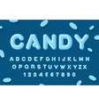 Candy font ABC of caramel Sweet alphabet Blue vector image
