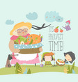 cartoon grandmother holding basket with vegetables vector image