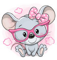 cartoon mouse with pink glasses on a pink vector image