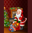 cartoon santa claus holding bag of presents vector image vector image