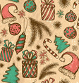 Christmas seamless background - sketched elements vector image vector image