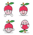 collection set lychee cartoon character style vector image vector image