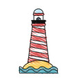 color crayon stripe image red striped lighthouse vector image