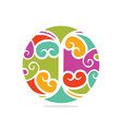 colorful ancient ethnic number three element vector image