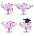 cotton candy character set with two finger wink vector image