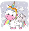 cute cartoon unicorn on clouds vector image vector image