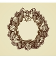 Decorative christmas wreath sketch Xmas and New vector image vector image