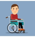 Disabled man in wheel chair vector image