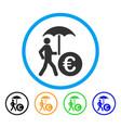 euro financial umbrella rounded icon vector image vector image