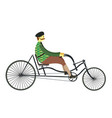 frenchman on retro vintage old bike vector image