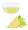 full glass of white wine and a brush of light grap vector image