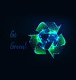 glowing low polygonal earth globe and green vector image vector image