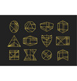 golden abstract line geometrical shapes icons set vector image