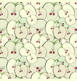 greeen apple core and half seamless pattern vector image