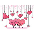 hearts couple kiss to valentine day celebration vector image vector image