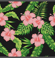 hibiscus monstera palm leaves seamless black vector image vector image