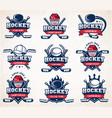 hockey logo set vector image