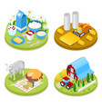 isometric ecology concept agriculture industry vector image vector image
