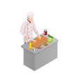 isometric male chef isolated on white chef in vector image