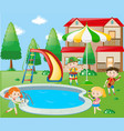 kids playing music by the poolside vector image vector image