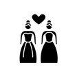 lesbian marriage black icon sign on vector image vector image