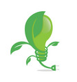 logo of green leaf and bulb ecology icon nature vector image
