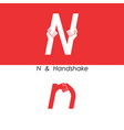 n - letter abstract icon and hands logo design vector image vector image